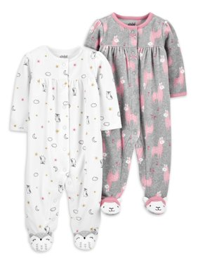 Child of Mine by Carter's Baby Girls Microfleece Sleep 'N Play Pajamas, 2-Pack (Preemie-9M)