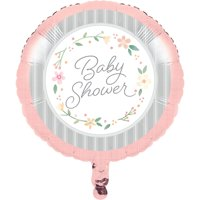 """Pack of 10 Rose and White Floral """"Baby Shower"""" Printed Mylar Balloons 18"""""""