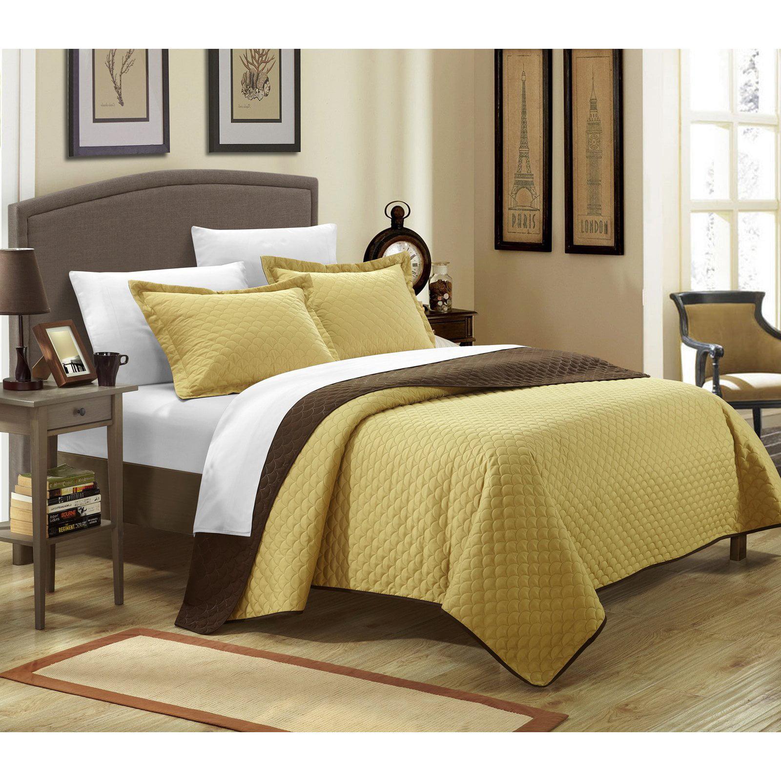2-Piece Ressa Reversible Color Block Modern Design Quilt with Shams Set