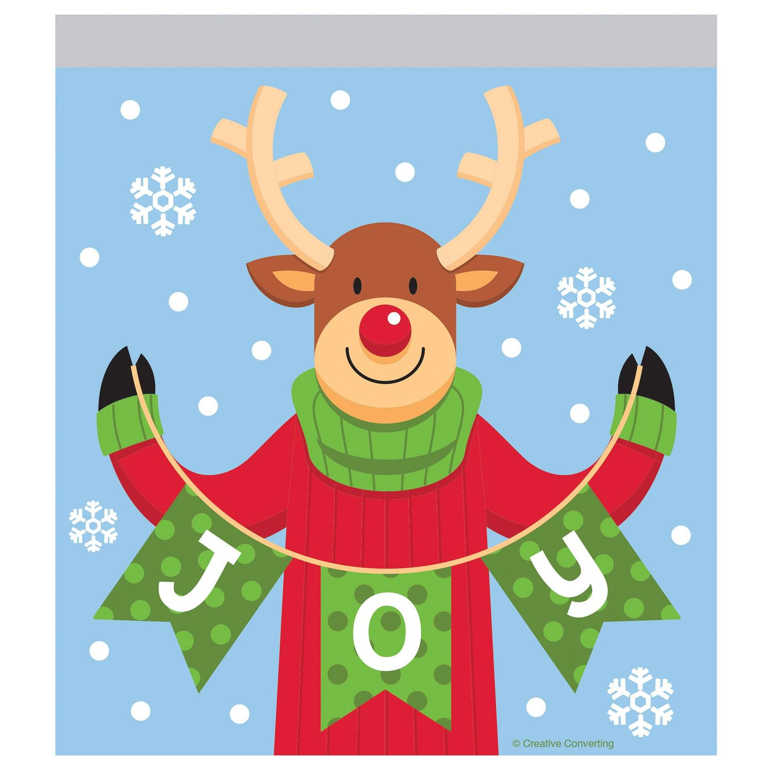 "Reindeer ""JOY"" Christmas 10 Ct Treat Sandwich Zip Party Bags"