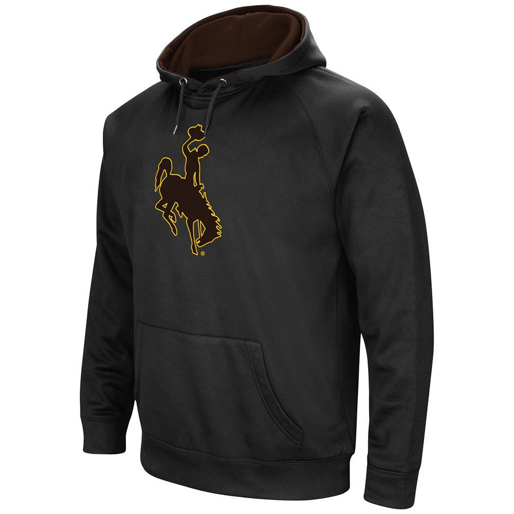 Mens Wyoming Cowboys Black Pull-over Hoodie by Colosseum