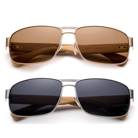 High Qaulity Polarized Sunglasses with Real Bamboo Arm Squre Aviator Sunglasses Bamboo Sunglasses for Men & (Fix Sunglasses Arm)