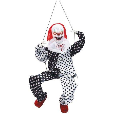 Animated Leg Kicking Clown on Swing Halloween Décor