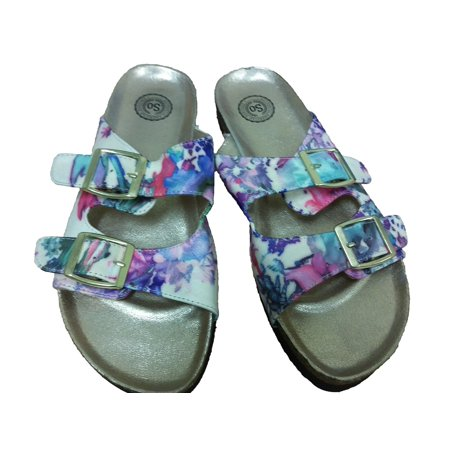 SO Women Floral Summer Shoes Footbed Flat Sandals