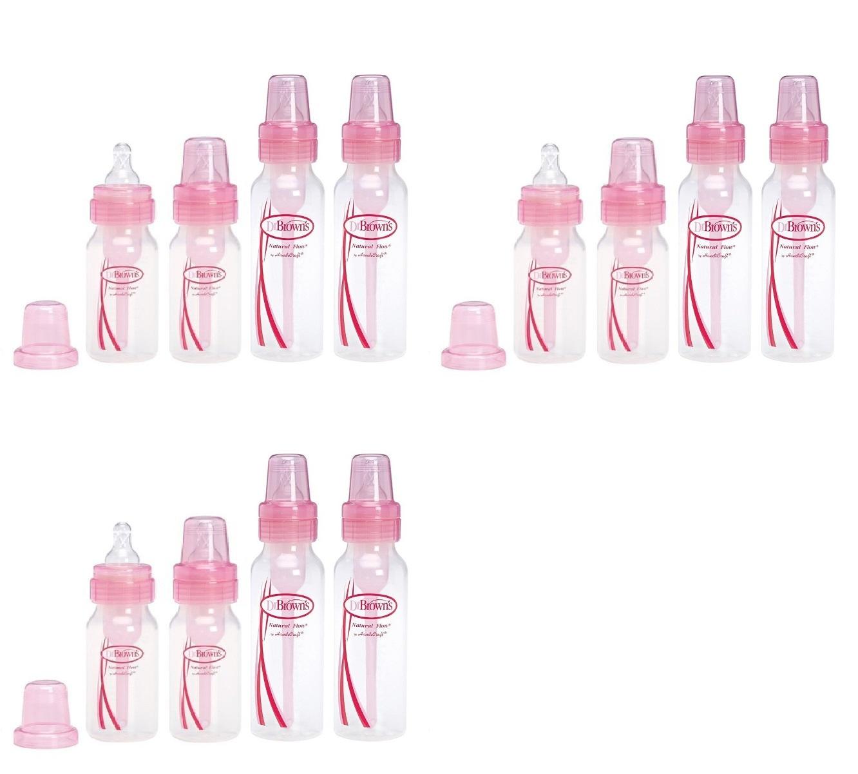 Dr. Browns Pink Bottles 4 Pack (2 - 8 oz bottles) and (2 - 4 oz bottles) (Pack of 3) + Old Spice Deadlock Spiking Glue, Travel Size, .84 Oz