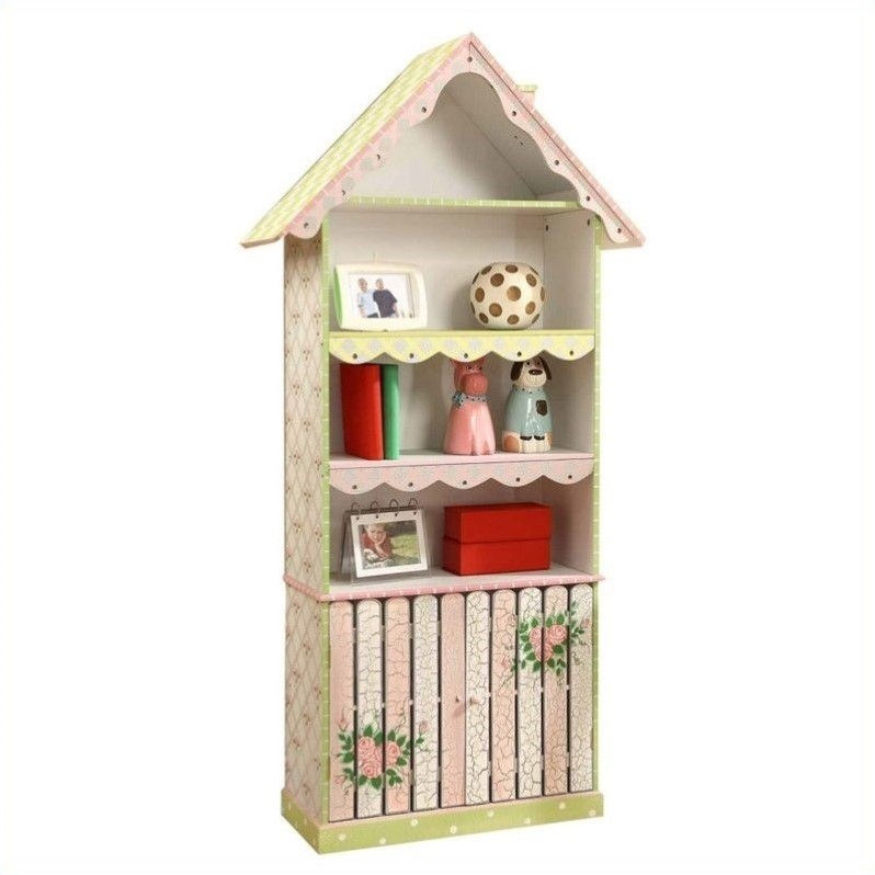 Fantasy Fields Cracked Rose Kids Bookshelf with Picket Fence Cabinet