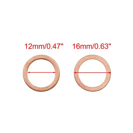 Copper Crush Washers Flat Car Sealing Plate Gaskets Rings 12 x 16mm Dia 50pcs - image 1 of 2