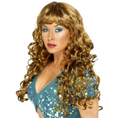 Smiffys Sexy Womens Long Light Brown Brunette Curly Costume Wig with - Long Curly Wigs