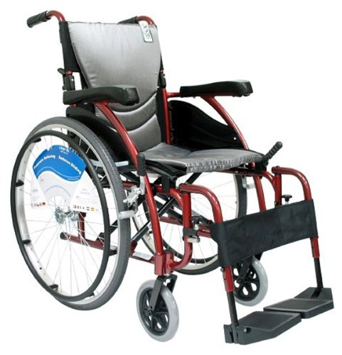 Karman Ergonomic Wheelchair in 20 inch Seat and Quick Release Axles, Red Frame