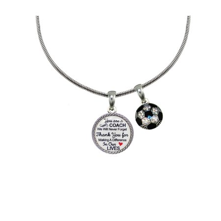Soccer Coach Thank You Gift Silver Necklace - Soccer Jewelry