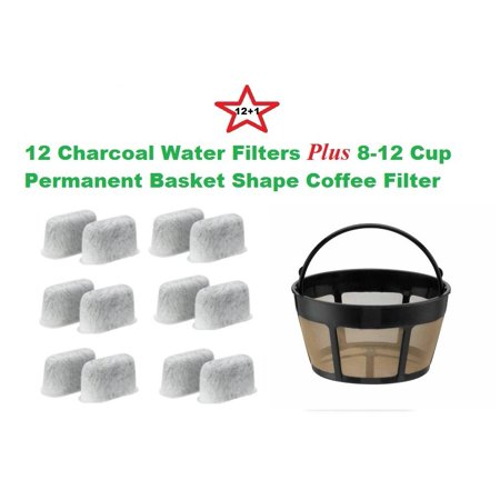 8-12 Cup Basket Shape Permanent Coffee Filter & a set of 12 Charcoal Water Filters for Cuisinart DCC-RWF1
