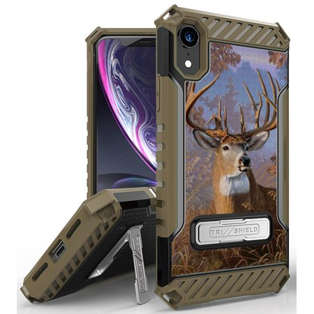 """iPhone XR Case, Big Buck Whitetail Deer Outdoor Hunter Camo Rugged Cover [with Metal Kickstand + Wrist Strap Lanyard] for Apple iPhone XR (2018) (Size 6.1"""" model) (10R)"""