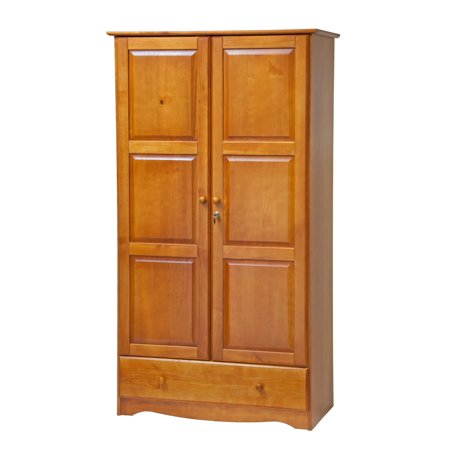 Palace Imports, 5622, Universal Wardrobe/Closet/Armoire with 1 Drawer, 2 Shelves, Lock, 100% Solid Wood, Honey Pine Finish. Additional Shelves Sold Separately. ()