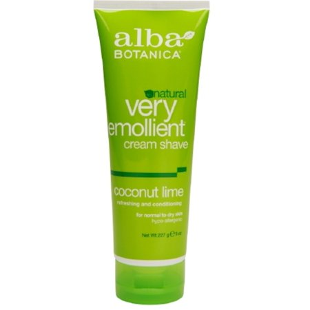 Alba Botanica Natural Very Emollient Cream Shave, Coconut Lime 8 oz (Pack of 3)