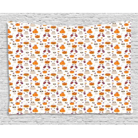 Ghost Tapestry, Cartoon Pattern of Pumpkin Ghost Skull and Other Elements Inspired by Halloween Party, Wall Hanging for Bedroom Living Room Dorm Decor, 60W X 40L Inches, Multicolor, by Ambesonne