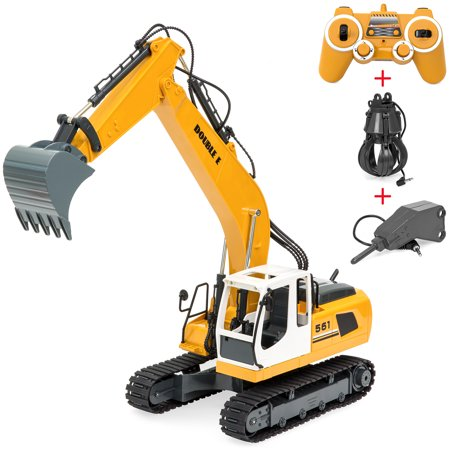 Best Choice Products 1/16 Scale Kids Multifunctional 17-Channel RC Excavator Construction Truck w/ Shovel, Drill, Grasp, Rechargeable Battery, USB Charger -