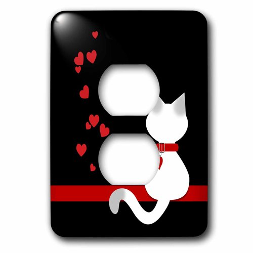 3dRose Pet Lovers Red Hearts Siamese Kitty Cat, 2 Plug Outlet Cover
