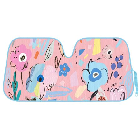 Double Bubble Windshield - Flower Drawing Auto Sun Shade for Car SUV Truck - Pretty in Light Pink - Double Bubble Foil Jumbo Folding Accordion for Windshield