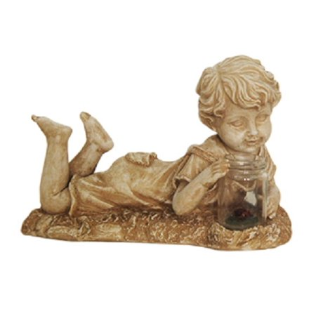 "14"" Distressed Almond Brown Lounging Boy Solar Powered LED Lighted Outdoor Patio Garden Statue"