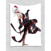 Anime Tapestry, Posing Warrior Girl in Manga Style Japanese Culture Themed Illustration Art, Wall Hanging for Bedroom Living Room Dorm Decor, 40W X 60L Inches, Red White and Black, by Ambesonne