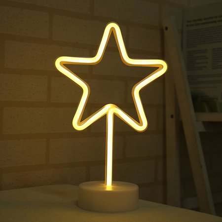 LED Star Neon Sign Night Light Battery Operated Table Lamp Room Decor Photography Prop Flamingo Neon Sign