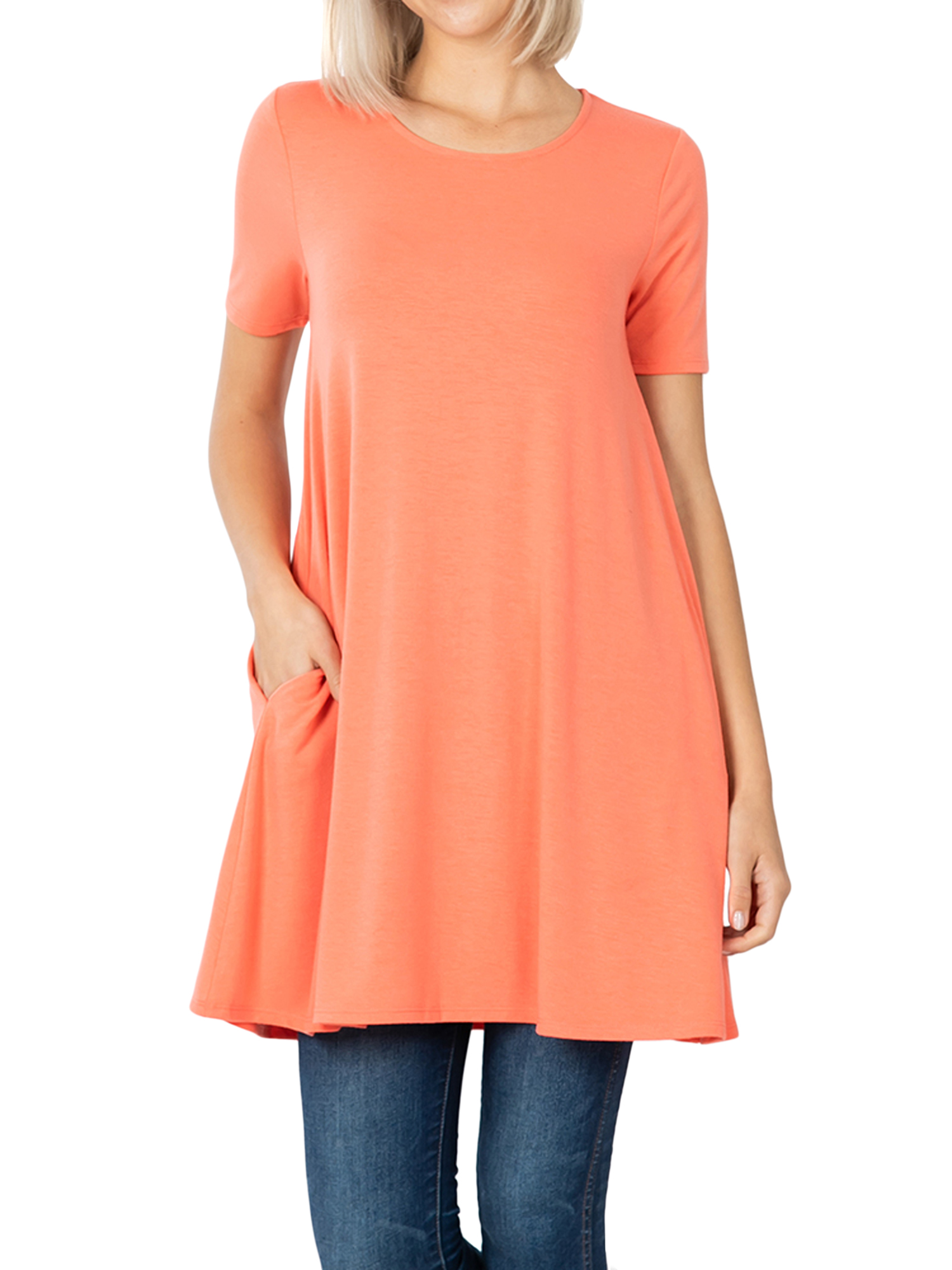 Womens Ladies Scoop Neck Blouse Longline T Shirt Flared Top Pleated Long Sleeve