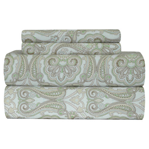 Pointehaven Heavy Weight Paisley Printed Flannel Sheet Set