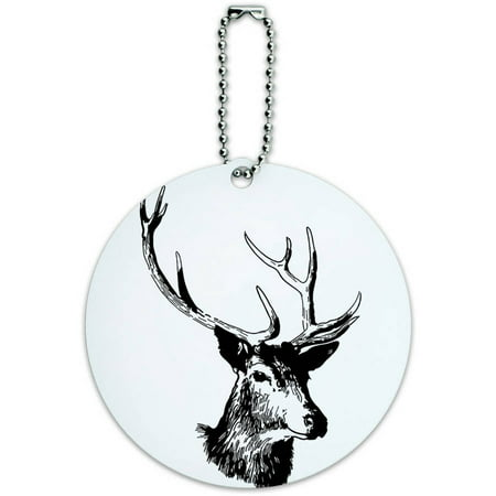 Deer Head Buck Deer Hunting Round Luggage ID Tag Card for Suitcase or