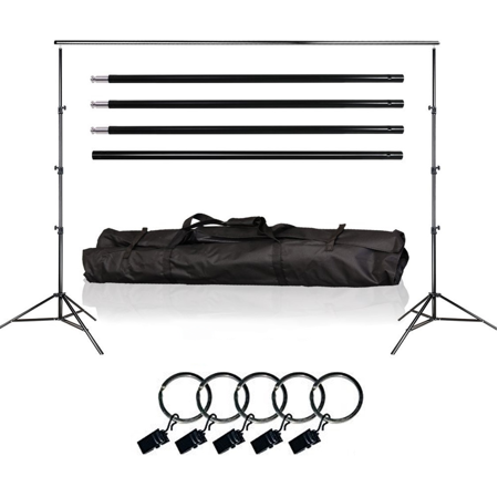 Loadstone Studio Photo Video Studio 10Ft Adjustable Muslin Background Backdrop Support System Stand, 5x Backdrop Helper Holders Kit with Bag, WMLS3340 ()