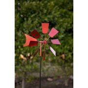 Alpine Metal Windmill Garden Stake, 52 Inch Tall, Red