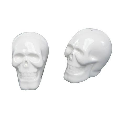 Smiling Skeleton Skulls Halloween Salt and Pepper Shaker Set