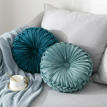 Round Filled Cushion,Velvet Cushions,Pleated Round Pillow, Scatter Cushion Home Decorative for Home Sofa Chair Bed Car Decor