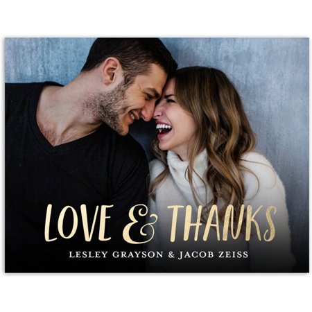 Love and Thanks Wedding Thank You Postcard](Cheap Wedding Thank You Cards)