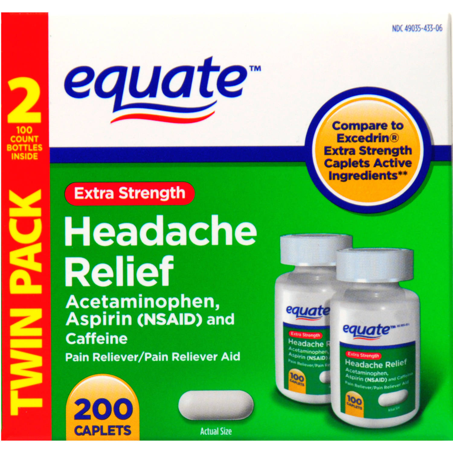 Equate Extra Strength Headache Relief Pain Reliever, 100 count, (Pack of 2)