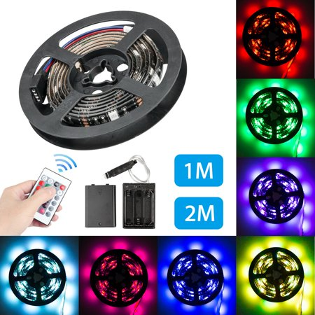 0.5' Led Rope Light (Battery Powered Led Strip Lights, 6.6ft/3.3ft Waterproof Flexible Color Changing RGB LED Light Strip with 24 keys IR Remote Control, LED Light Strip Rope Kit for Home Bedroom DIY Party Indoor Outdoor)