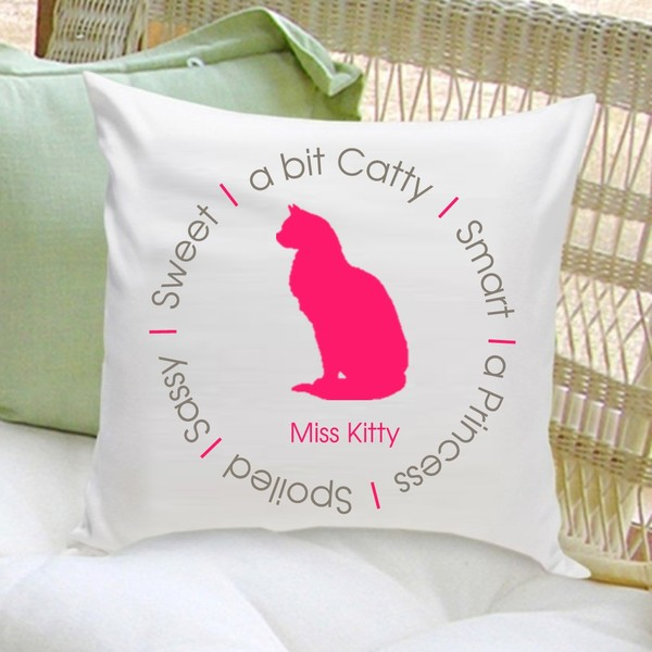 Personalized Circle of Love Cat Silhouette Throw Pillow - Pink