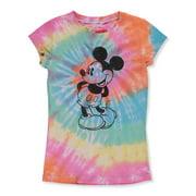Disney Mickey Mouse Girls' Shy Tie Dye T-Shirt (Big Girls)