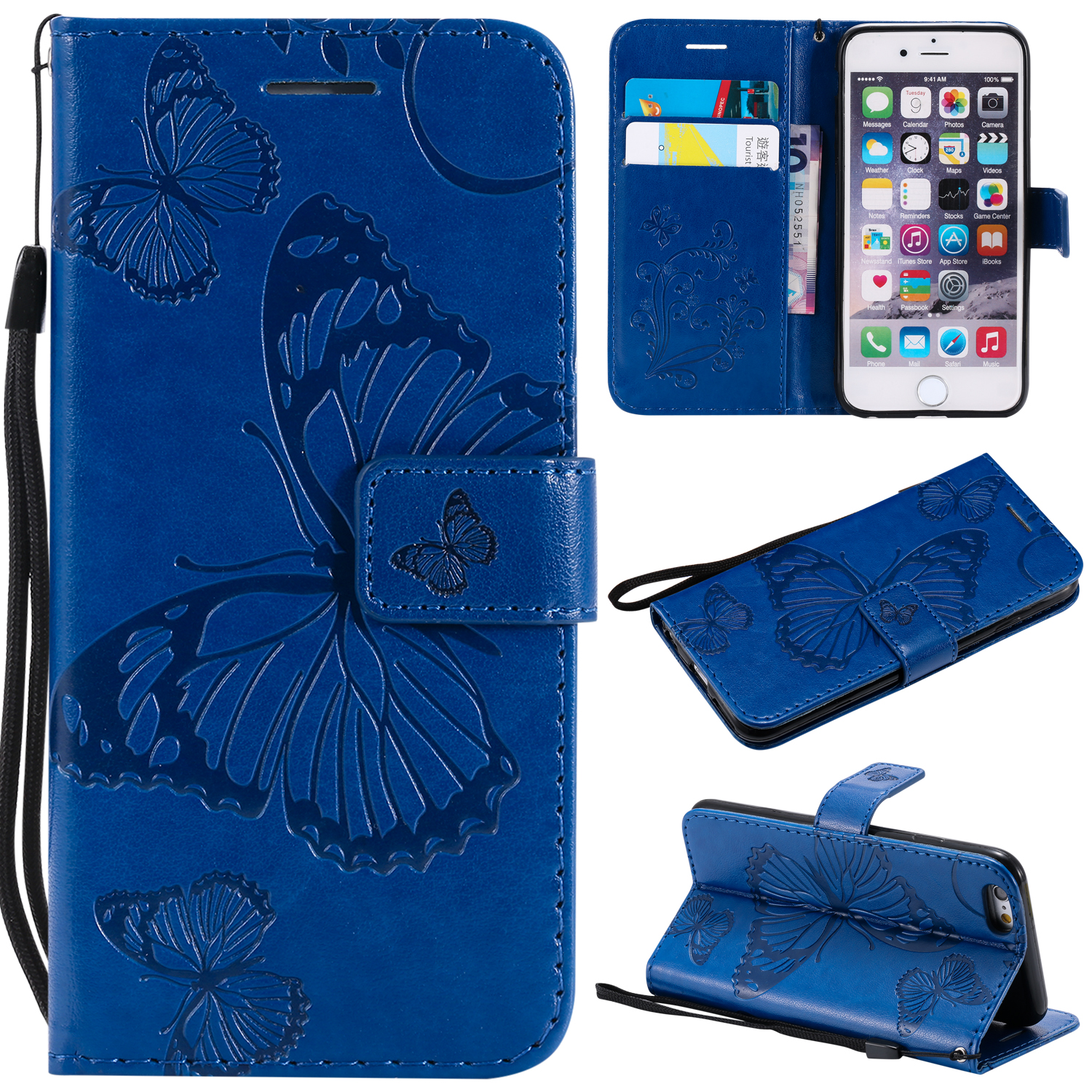 iPhone 6 Plus/ 6S Plus Wallet case, Allytech Pretty Retro Embossed Butterfly Flower Design PU Leather Book Style Wallet Flip Case Cover for Apple iPhone 6 Plus and iPhone 6S Plus, Blue