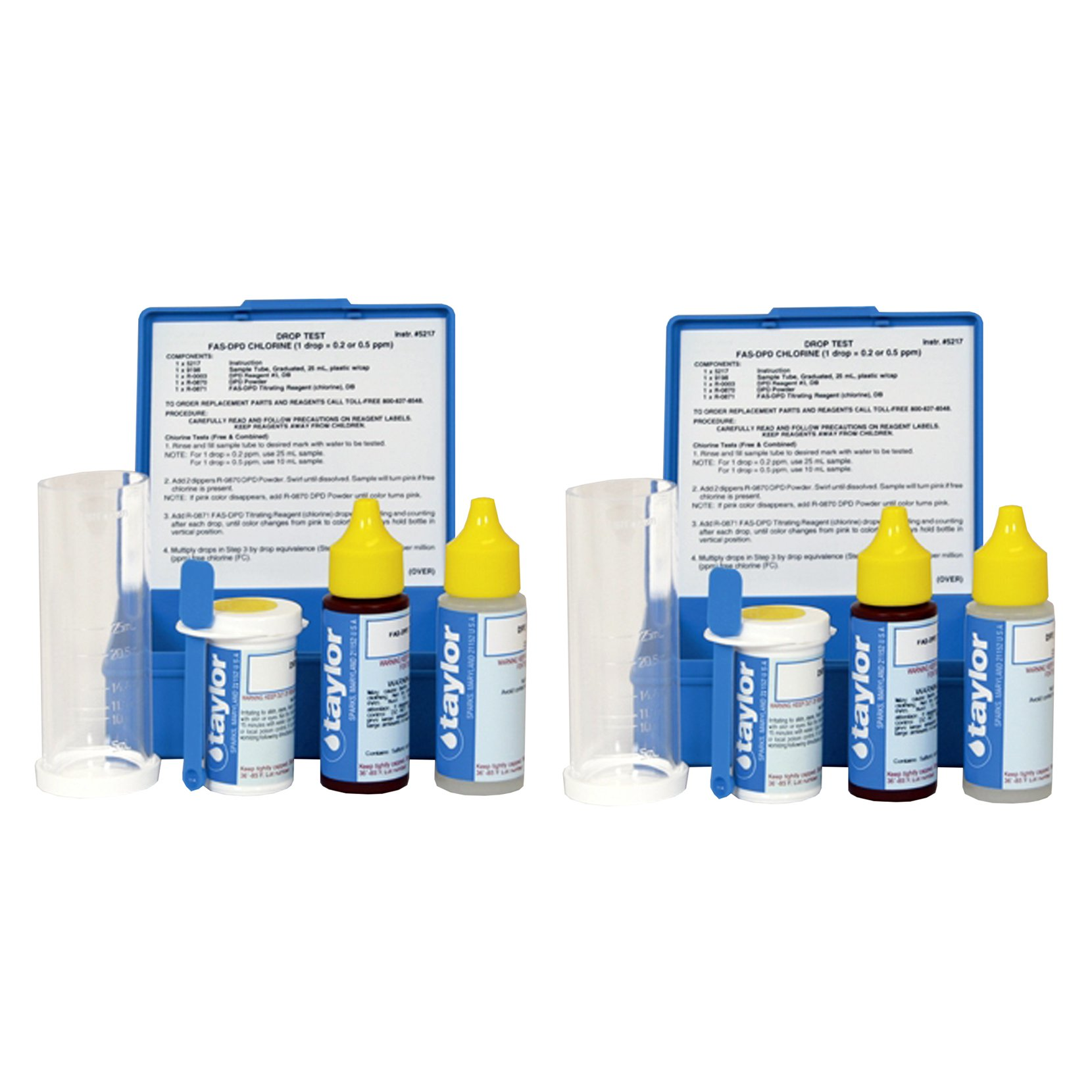 Taylor  Drop Test Kit FAS-DPD Pool Chlorine .75oz 1 Drop = .2 or .5ppm (2 Pack)