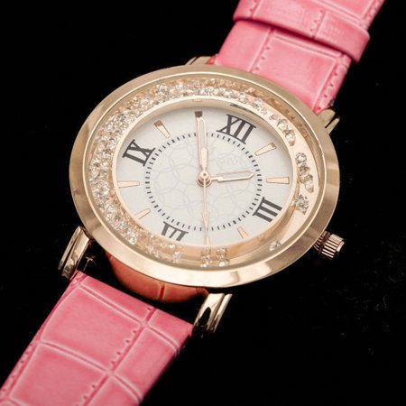 (Women Watches Thin Leather Strap Ladies Casual Quartz Watch With Rhinestone)