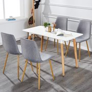 Vecelo Set of 4 Dining Side Chairs,Modern Cushion Back Chairs Wooden Legs,Gray