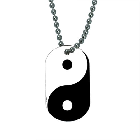 KuzmarK Pendant Dog Tag Necklace - Ying Yang Art