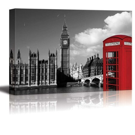 Wall26 Black And White Photograph With Pop Of Color On A Red Telephone Booth In London Canvas Art Home Decor 12x18 Inches