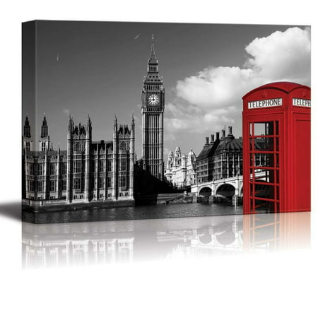 wall26 Black and White Photograph with Pop of Color on a Red Telephone Booth in London - Canvas Art Home Decor - 24x36 inches Custom Pop Art Canvas