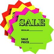 """3"""" Sale Price Fluorescent Neon Die Cut Star Burst Retail Sign Cards, 100 Pack"""