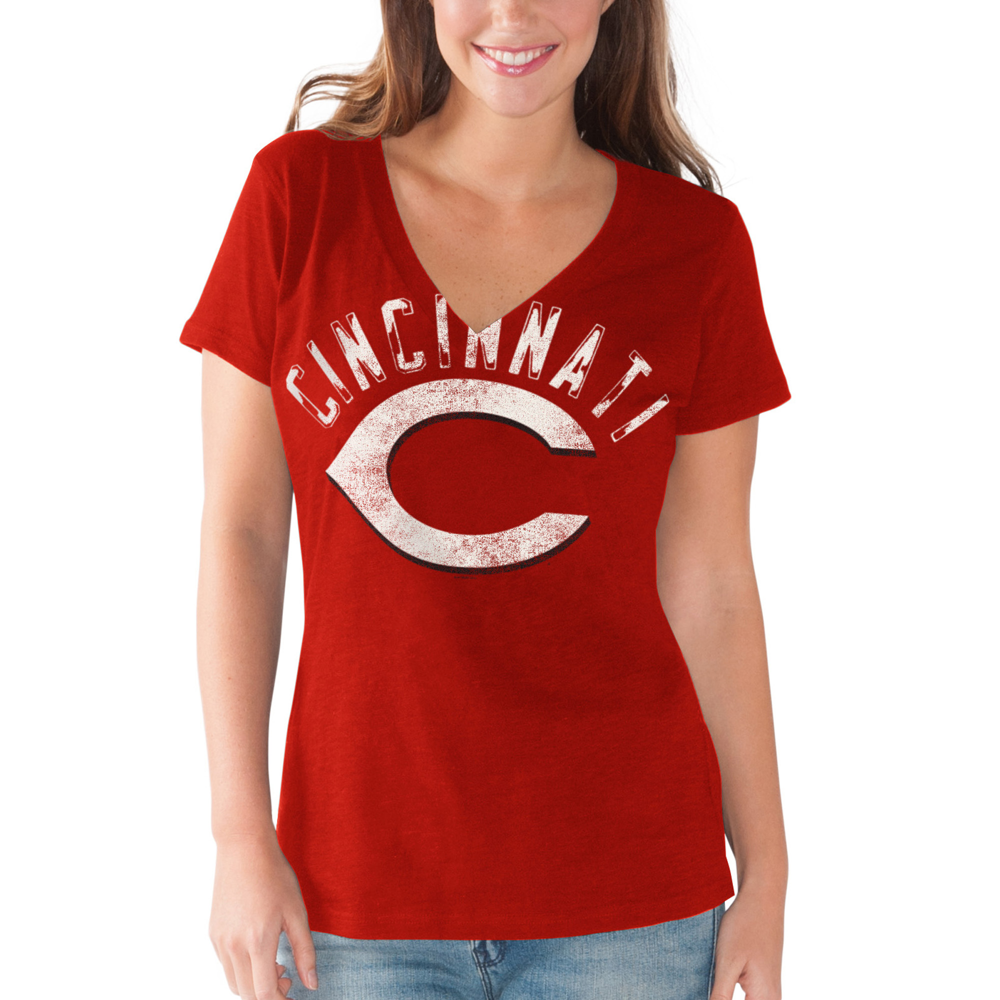 Cincinnati Reds G-III 4Her by Carl Banks Women's Round the Bases V-Neck T-Shirt - Red