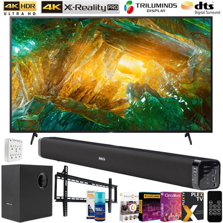 Sony XBR75X800H 75-inch X800H 4K UHD LED Smart TV (2020) Bundle with Deco Gear 60W Soundbar with Subwoofer, Wall Mount, 6-Outlet Surge Adapter, Screen Cleaner and TV Essentials 2020 Digital Download