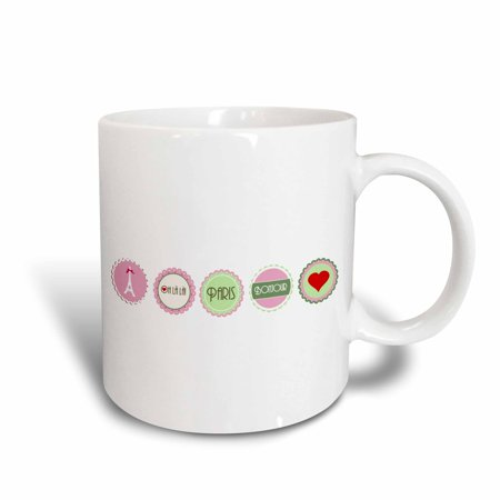 Frilly Hearts (3dRose Pink and Green Love Paris girly design - Eiffel tower Bonjour heart and oh la la frilly circles, Ceramic Mug,)