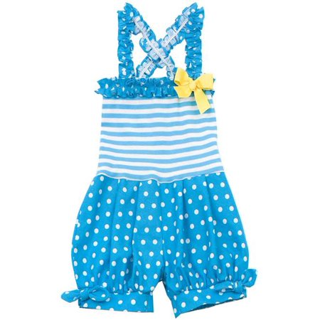 Rare Editions Blue Stripe and Dot Romper 9 months
