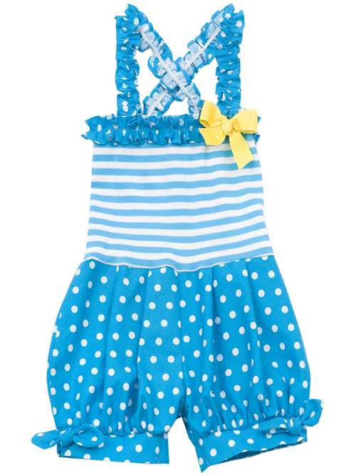 Turquoise/ White Stripes And Dots Romper 9 months